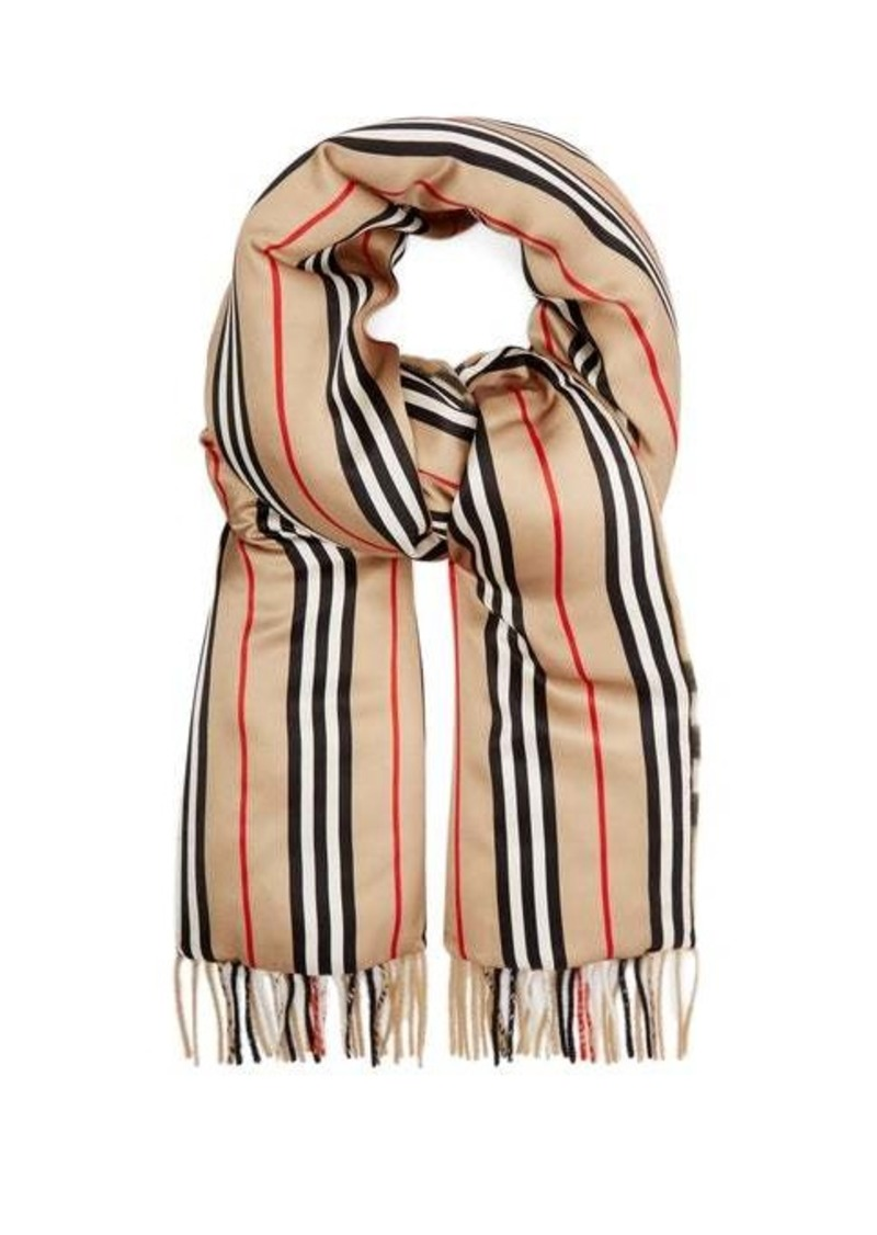 Burberry Vintage-check cashmere and silk-satin scarf