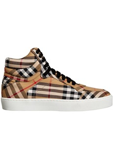 Burberry Vintage Check Cotton High-top Sneakers - Yellow & Orange