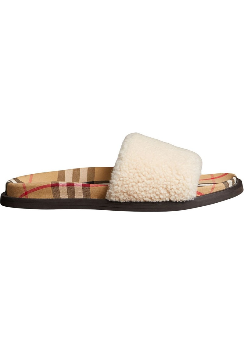 a920dc3f9 Burberry Vintage Check shearling slides
