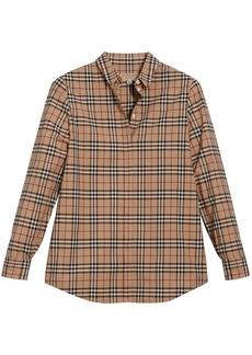 Burberry Check Cotton Shirt - Brown