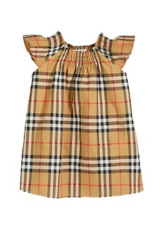 Burberry Vinya Check Flutter-Sleeve Dress  Size 6M-2