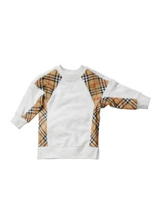 Burberry Wanda Check-Trim Sweatshirt Dress  Size 3-14