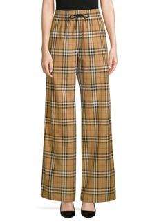 Burberry Whynham Check Wide-Leg Pants