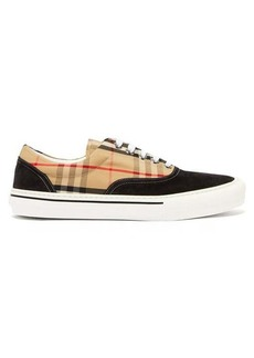 Burberry Wilson House-check & suede low-top trainers