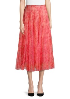 Burberry Wilton Pleated Silk Skirt