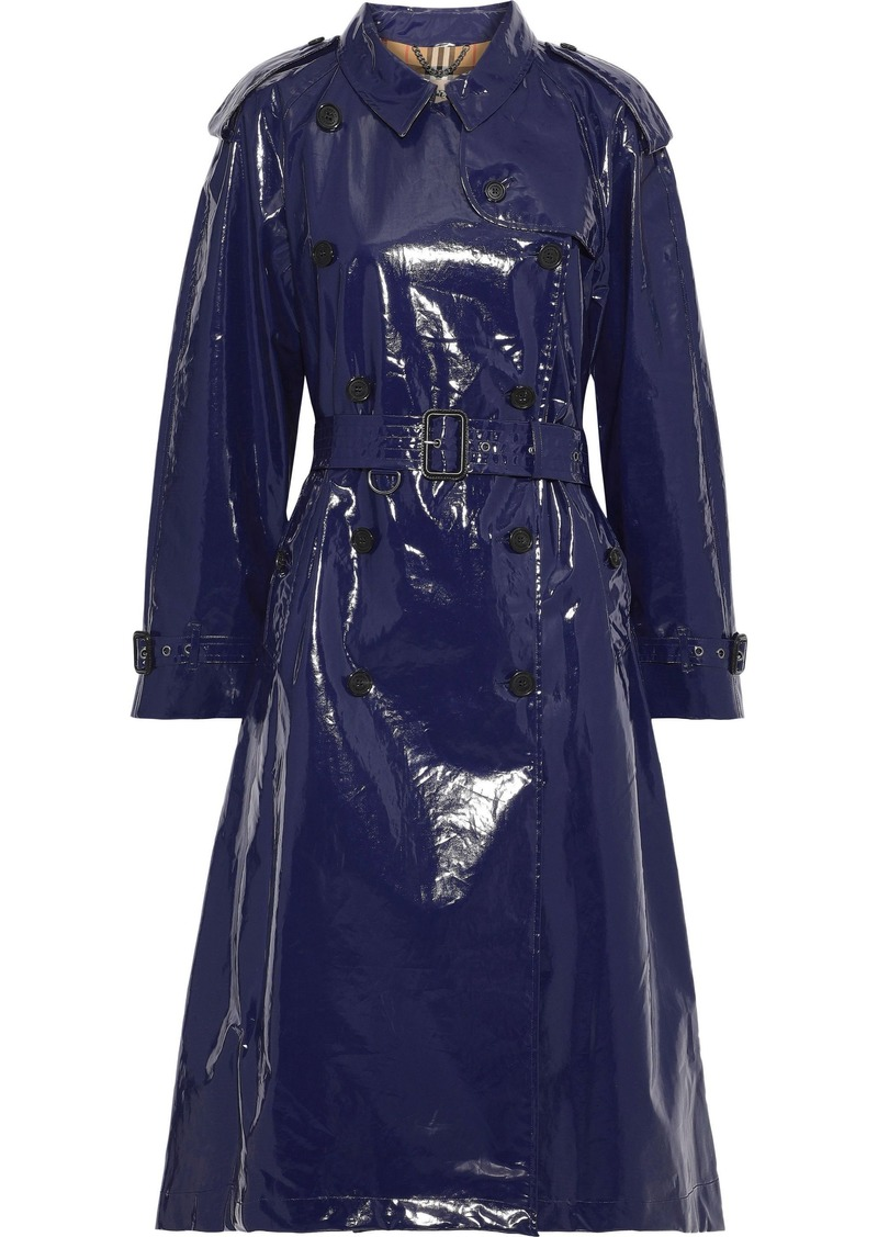 Burberry Woman Belted Glossed-cotton Trench Coat Navy