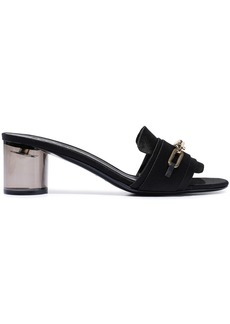 Burberry Woman Chain-trimmed Satin Mules Black