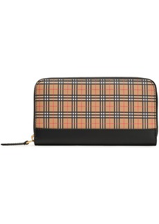 Burberry Woman Checked Canvas And Leather Continental Wallet Black