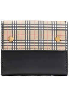 Burberry Woman Checked Canvas-paneled Leather Wallet Multicolor