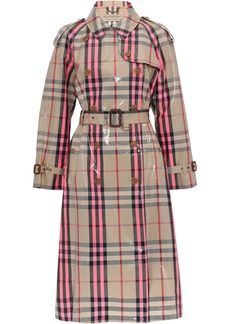 Burberry Woman Checked Glossed Cotton-blend Trench Coat Bright Pink