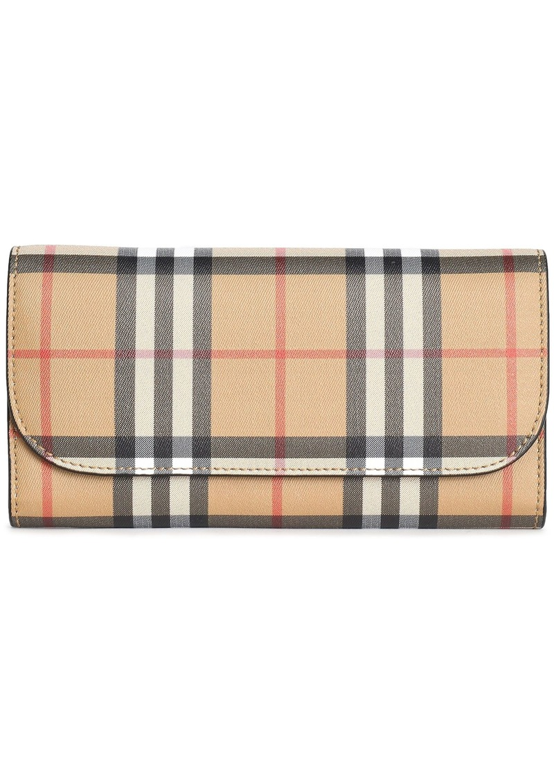 Burberry Woman Checked Canvas Continental Wallet Sand