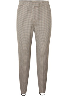 Burberry Woman Checked Wool-blend Slim-leg Stirrup Pants Brown