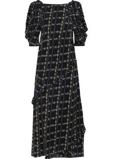 Burberry Woman Cold-shoulder Floral-print Silk Crepe De Chine Midi Dress Black