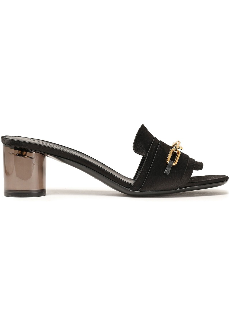 Burberry Woman Coleford Chain-embellished Satin Mules Black