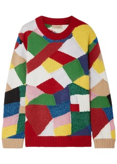 Burberry Woman Color-block Knitted Sweater Multicolor