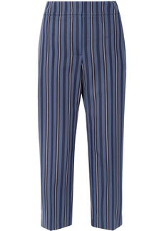 Burberry Woman Cropped Striped Wool-blend Jacquard Straight-leg Pants Navy