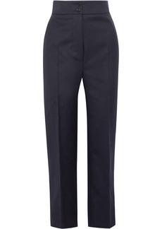 Burberry Woman Cropped Wool-twill Straight-leg Pants Midnight Blue
