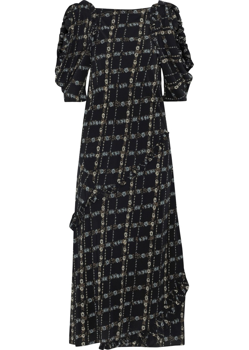 Burberry Woman Cold-shoulder Floral-print Silk Crepe De Chine Midi Dress Black