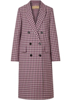 Burberry Woman Double-breasted Checked Cotton-blend Coat Burgundy