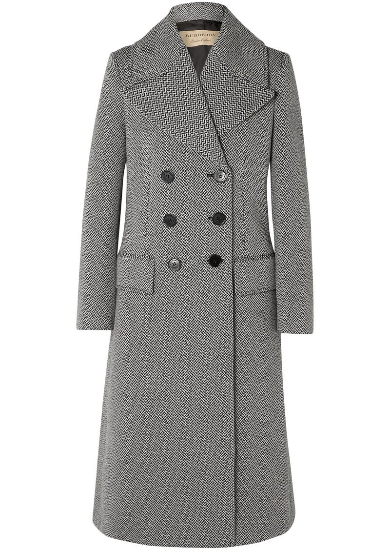 Burberry Woman Double-breasted Herringbone Wool-blend Tweed Coat Gray