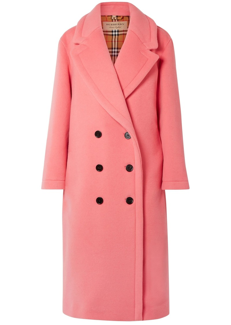 Burberry Woman Double-breasted Wool And Cashmere-blend Coat Pink