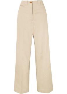 Burberry Woman Eastcote Cotton-blend Twill Wide-leg Pants Beige