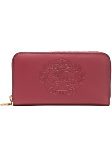 Burberry Woman Embossed Leather Continental Wallet Crimson
