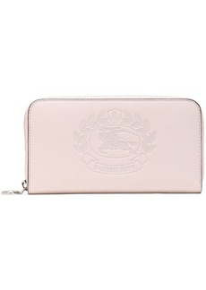Burberry Woman Embossed Leather Continental Wallet Pastel Pink