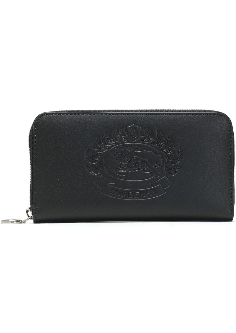 Burberry Woman Embossed Leather Continental Wallet Black