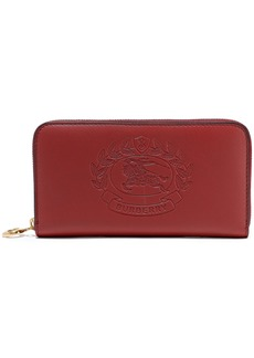 Burberry Woman Embossed Leather Wallet Crimson