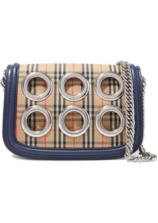 Burberry Woman Eyelet-embellished Checked Jacquard Shoulder Bag Midnight Blue