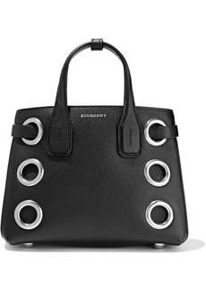 Burberry Woman Eyelet-embellished Textured-leather Tote Black