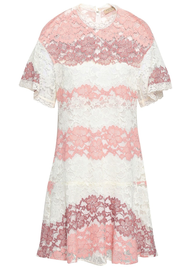Burberry Woman Fluted Corded Lace Mini Dress Antique Rose