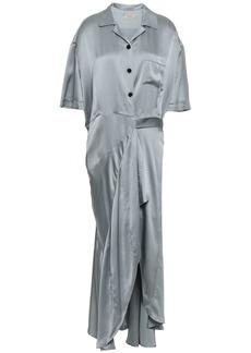 Burberry Woman Fluted Silk-satin Midi Wrap Dress Gray