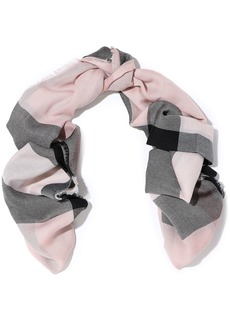 Burberry Woman Frayed Checked Cashmere Scarf Blush