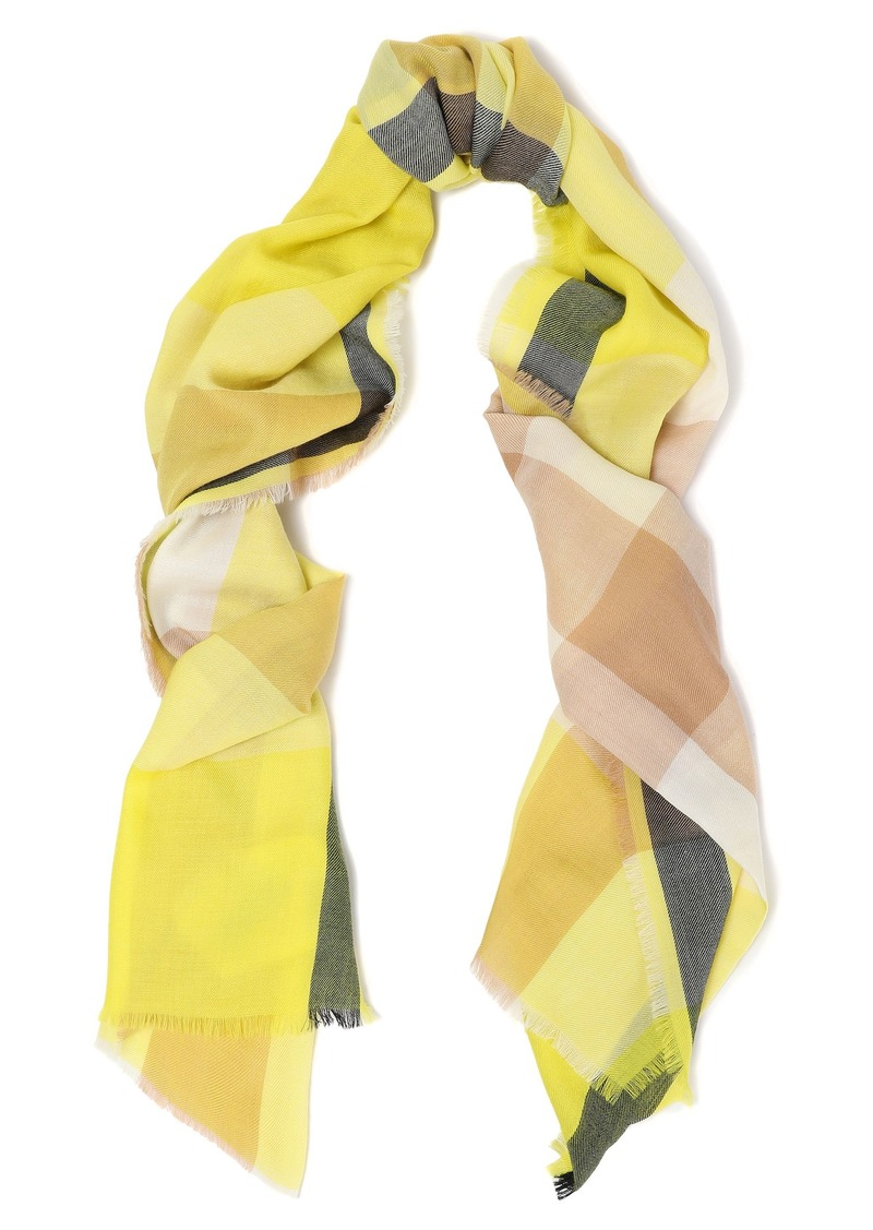 Burberry Woman Frayed Checked Cashmere Scarf Bright Yellow