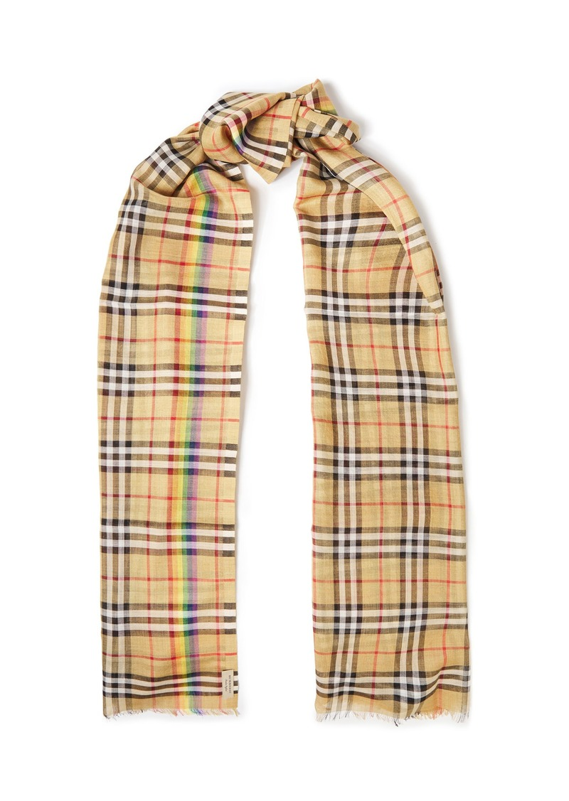 Burberry Woman Frayed Checked Wool And Silk-blend Scarf Beige