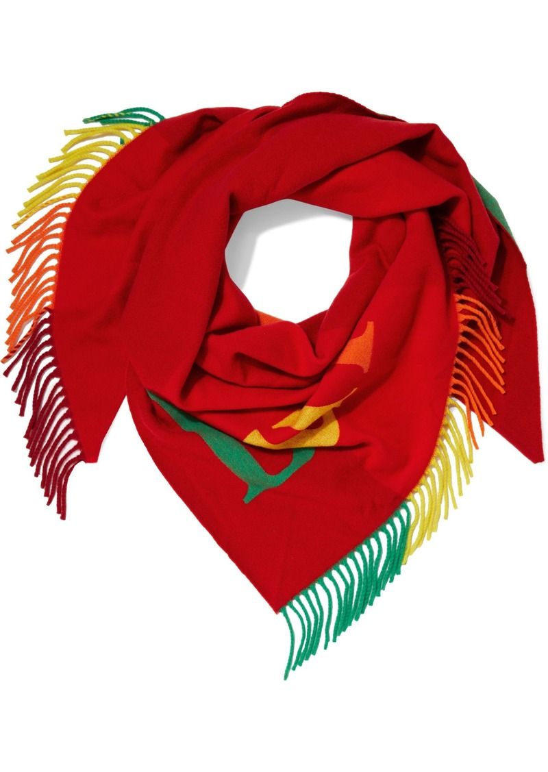 Burberry Woman Fringe-trimmed Intarsia Wool And Cashmere-blend Scarf Red