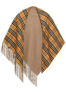 Burberry Woman Fringed Checked Cashmere Wrap Camel