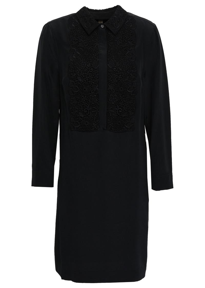 Burberry Woman Guipure Lace-paneled Silk Crepe De Chine Mini Shirt Dress Black