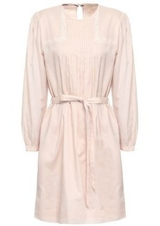 Burberry Woman Lace-trimmed Pintucked Cotton Mini Dress Blush