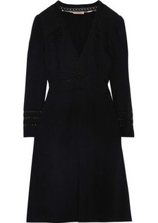 Burberry Woman Lace-trimmed Pintucked Crepe Dress Black