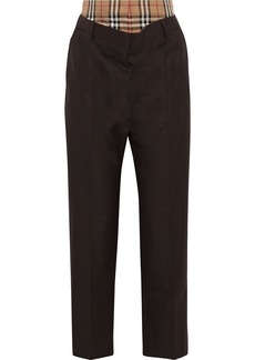 Burberry Woman Layered Checked Poplin And Draped Wool Straight-leg Pants Dark Brown