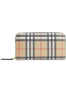 Burberry Woman Leather-trimmed Checked Canvas Continental Wallet Black