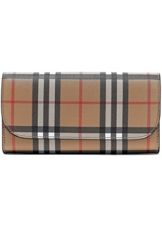 Burberry Woman Leather-trimmed Checked Canvas Continental Wallet Multicolor