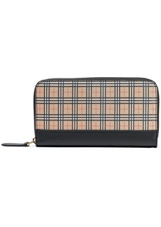 Burberry Woman Leather-trimmed Checked Canvas Continental Wallet Mustard