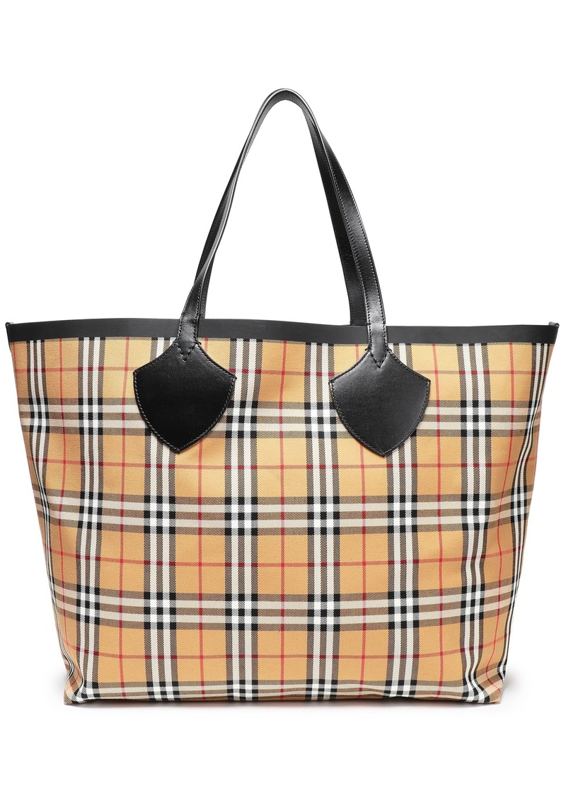 Burberry Woman Leather-trimmed Checked Canvas Tote Sand