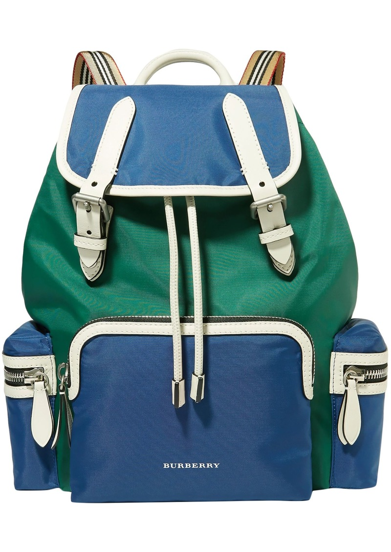 Burberry Woman Leather-trimmed Shell Backpack Blue