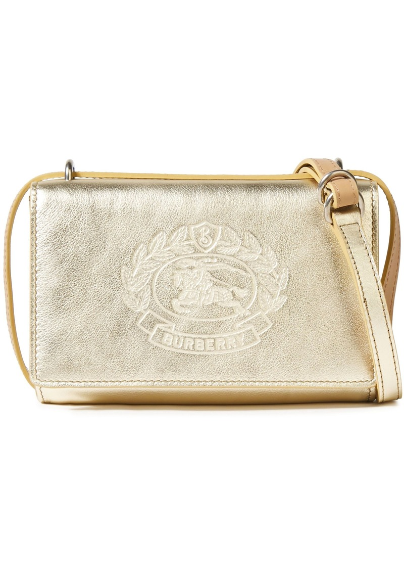 Burberry Woman Logo-embossed Metallic Textured-leather Shoulder Bag Gold