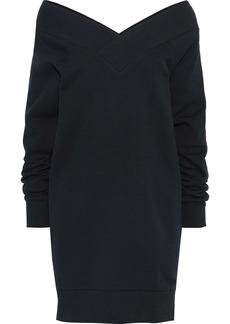 Burberry Woman Off-the-shoulder Cotton-blend Fleece Mini Dress Navy